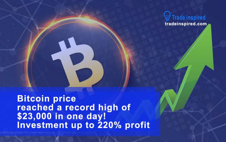 Bitcoin price reached a record high of $23,000 in one day! Investment up to 220% profit
